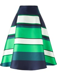 Lanvin Striped Full Skirt Green