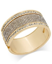 Thalia Sodi Gold Tone Crystal Studded Wide Bangle Bracelet Only At Macy's