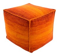 Surya Chaz Cube Pouf Burnt Orange Dark Red