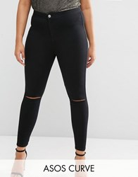 Asos Curve Rivington Jegging In Clean Black With Rips Black