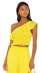 Krisa One Shoulder Ruffle Top In Yellow. Daffodil