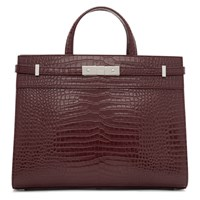 Saint Laurent Burgundy Croc Small Manhattan Bag
