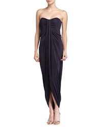 Michael Kors Strapless Draped Jersey Gown Navy