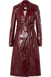 Magda Butrym Indiana Patent Textured Leather Trench Coat Burgundy