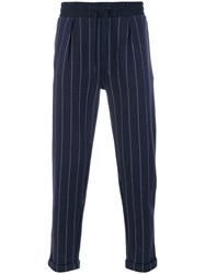 Calvin Klein Jeans Pinstriped Trousers Cotton Polyester Blue