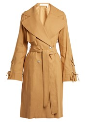 See By Chloe Double Breasted Linen Twill Trench Coat Camel