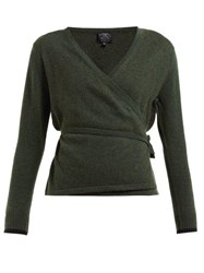 Pepper And Mayne Wrap Cashmere And Wool Blend Cardigan Dark Green