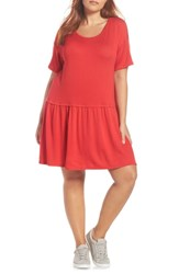Bobeau Knit Tee Dress Red