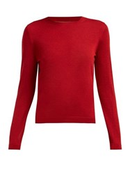 Redvalentino Point D'esprit Panelled Cashmere Blend Sweater Red