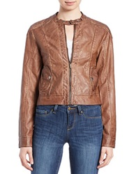 William Rast Faux Leather Moto Jacket Brown