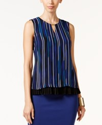 Thalia Sodi Printed Pleated Top Only At Macy's Black Blue Combo