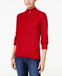 Karen Scott Mock Neck Cable Knit Sweater Only At Macy's New Red Amore Marl