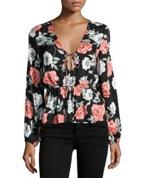 Minkpink Garden Of Eden Peplum Blouse Black Pattern