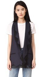 Alexander Wang Elongated Vest With Lace Trim Navy