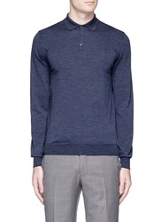 Lardini Wool Knit Long Sleeve Polo Shirt Blue