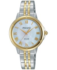 Pulsar Women's Solar Dress Two Tone Stainless Steel Bracelet Watch 31Mm Py5006