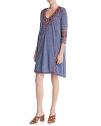 Johnny Was Marjan 3 4 Sleeve Embroidered Tunic Dress Midnight Blue