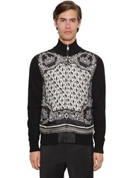 Dolce And Gabbana Zip Up Cashmere Silk Cardigan Black