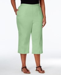 Alfred Dunner Plus Size Sao Paolo Collection Pull On Capri Pants Lime