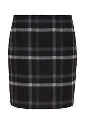 Hallhuber Flannel Skirt With Check Patterning Black