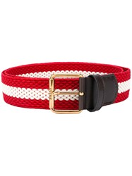 Bally Striped Belt Men Leather Polyester 100 Red