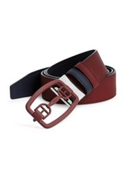 Bally Logo Buckle Calfskin Leather Belt Dark Red