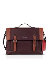 Ted Baker Kantoo Two Tone Leather Satchel Bag Oxblood