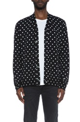 Comme Des Garcons Play Dot Print Wool Cardigan With Black Emblem In Black Geometric Print