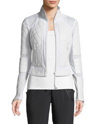 Blanc Noir Quilted Leather And Mesh Moto Jacket White