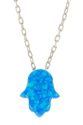 Sterling Silver Created Blue Opal Hamsa Pendant Necklace