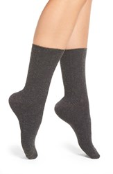 Natori Women's 'Cherry Blossom' Geo Knit Crew Socks Charcoal