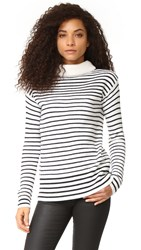 Atm Anthony Thomas Melillo Roll Neck Cozy Sweater Black White Stripe