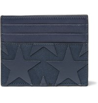 Valentino Star Appliqued Canvas And Leather Cardholder Blue