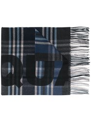 Dsquared2 Checked Logo Scarf Blue