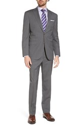 David Donahue Big And Tall Ryan Classic Fit Stripe Wool Suit Mid Grey