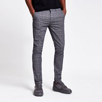 River Island Grey Check Tape Side Super Skinny Trousers
