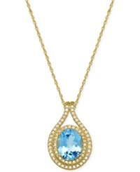 Macy's Blue Topaz 3 1 3 Ct. T.W. And Diamond 3 8 Ct. T.W. Pendant Necklace In 14K Gold