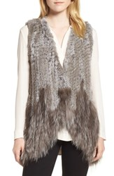Love Token Genuine Rabbit And Fox Fur Vest Grey