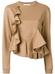 Givenchy Frill Flared Knitted Top Wool Brown