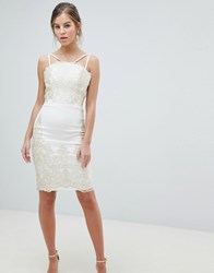 Chi Chi London Lace Detail Pencil Midi Prom Dress With V Back Cream Gold