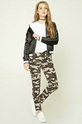 Forever 21 Zippered Camo Print Joggers Pink Olive