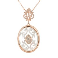 Latelita London Carved White Mother Of Pearl Rosegold Necklace Rose Gold White