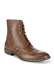Andrew Marc New York Hillcrest Wingtip Leather High Top Boots Brown