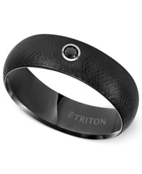 Triton Men's Black Tungsten Carbide Ring Black Diamond Accent Comfort Fit Wedding Band