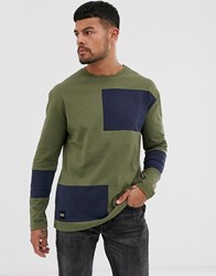 Native Youth Long Sleeve Top In Khaki With Abstract Colour Blocking In Navy Green