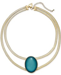 Thalia Sodi Gold Tone Oval Stone Double Row Collar Necklace 16 3 Extender Gold Jade
