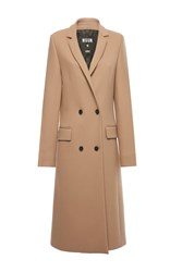 Msgm Double Stretch Wool Coat Brown