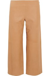 Chloe Cropped Leather Wide Leg Pants Brown