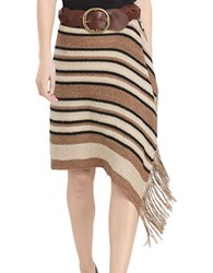 Polo Ralph Lauren Fringe Trimmed Knit Wrap Pattern Silk And Leather Skirt Beige Multi