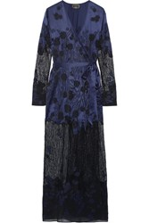 Agent Provocateur Anissa Appliqued Silk Satin And Lace Robe Midnight Blue
